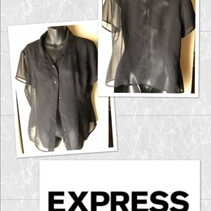 Express button down sheer blouse 11/12 Black EUC